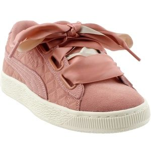 PUMA WOMENS SUEDE HEART QUILT CASUAL SNEAKERS SZ 9